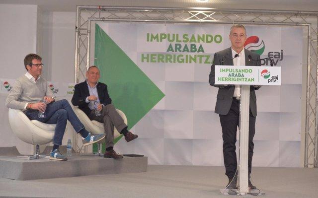 Urkullu defiende la unión del PNV ante la 'alianza del no' de EH Bildu, E-Podemos y PP para 'bloquear' los presupuestos