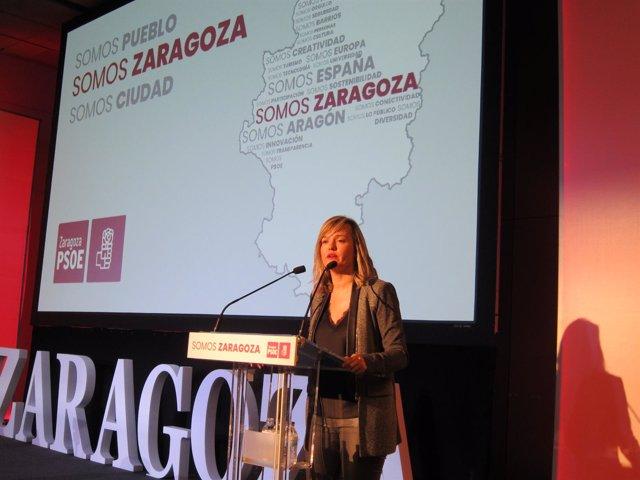 Pilar Alegría en acto 'Somos Zaragoza' del PSOE