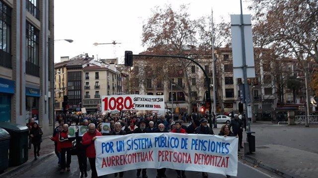 Manifestación de pensionistas en Pamplona