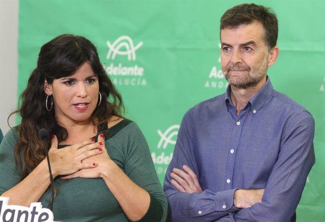 En Sevilla, rueda de prensa de la coordinadora de Podemos Andalucía, Teresa Rodr