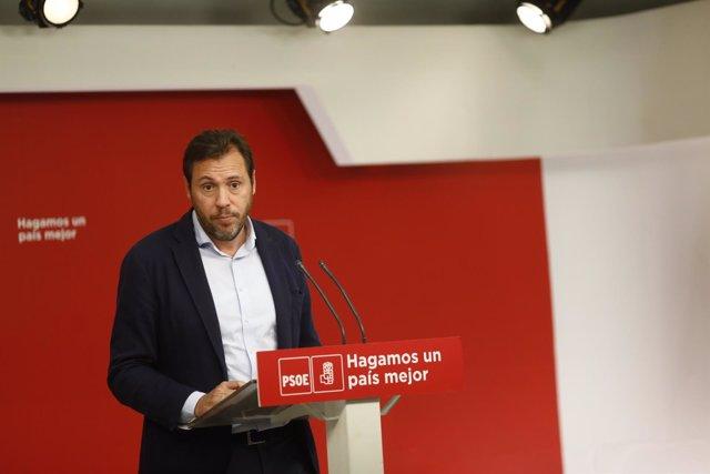 Rueda de prensa del portavoz del PSOE, Óscar Puente