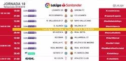 FC Barcelona, Reial Madrid i l'Atlètic jugaran el dia de Reis en la divuitena jornada (LALIGA)