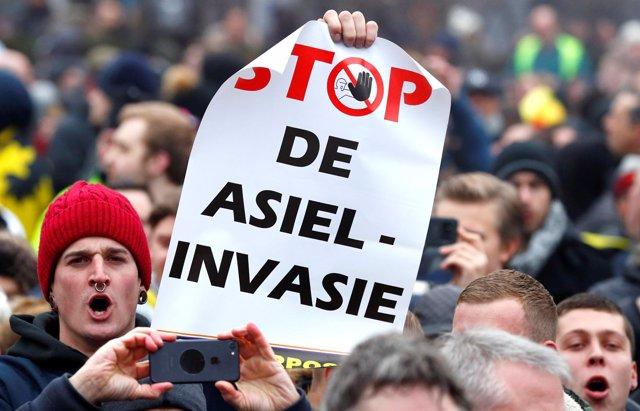 Protesta en Bruselas contra el Pacto Mundial sobre Migración
