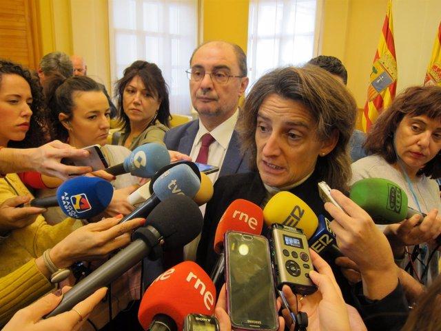La ministra para la Transición Ecológica, Teresa Ribera, en Zaragoza