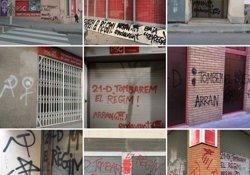 Apareixen diverses pintades a nou seus del PSC i a la del PP a Badalona (Barcelona) (@SALVADORILLA)