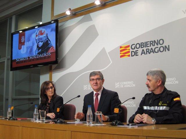 Sánchez, Guillén y Alcañiz han presentado hoy el ejercicio 'Aragón 2019'