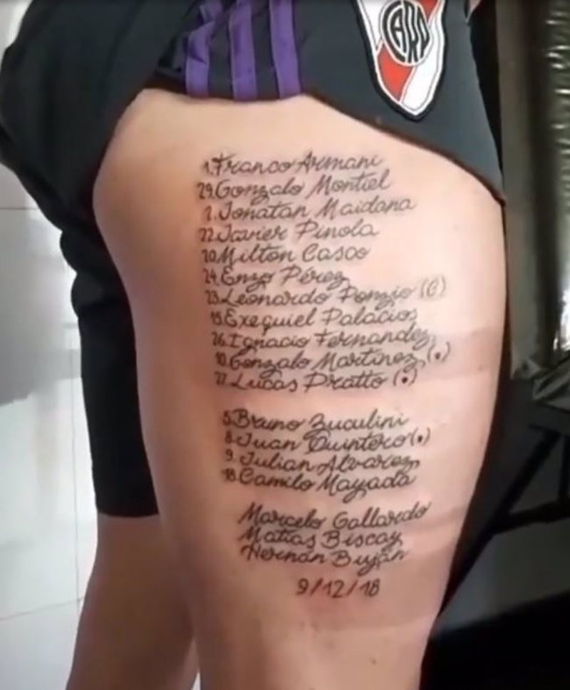 Un Aficionado De River Se Tatúa El Nombre De Los 15 Jugadores Que