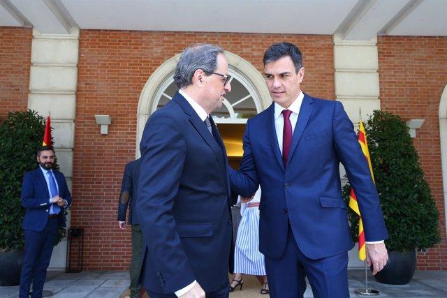 Pedro Sánchez recibe a Quim Torra en La Moncloa el pasado julio (archivo)