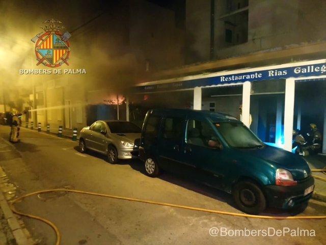 Incendio en un restaurante gallego de Palma
