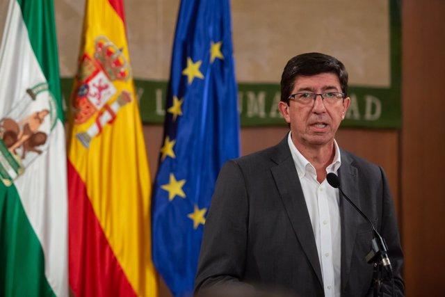 Intervención a los medios del lider de Ciudadanos en Andalucía, Juan Marín.