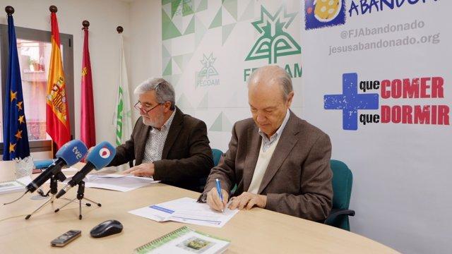 Santiago Martínez y José Moreno, presidentes Fecoam y Fundación Jesús Abandonado
