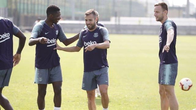 Sesión de entrenamiento del FC Barcelona