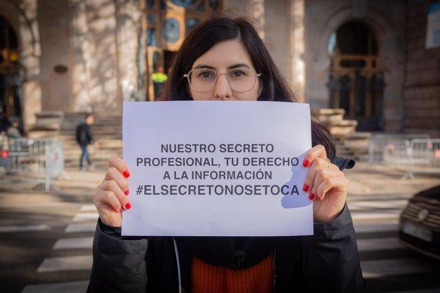 Concentración en Barcelona en apoyo a Europa Press y Diario de Mallorca por el d