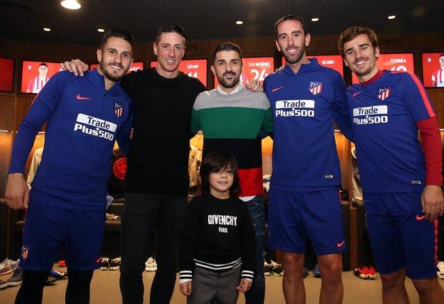 Torres y Villa junto a Koke, Godín y Griezmann