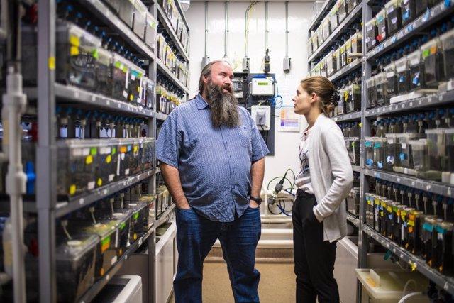 Los investigadores Ted Allison y Michele DuVal, de la Universidad de Alberta