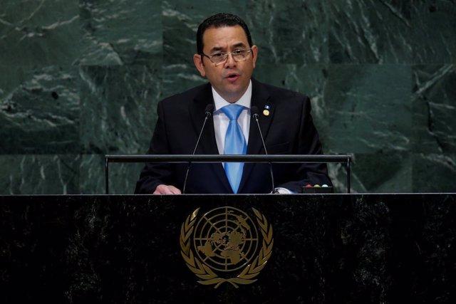 El presidente de Guatemala, Jimmy Morales, ante la Asamblea General de la ONU.