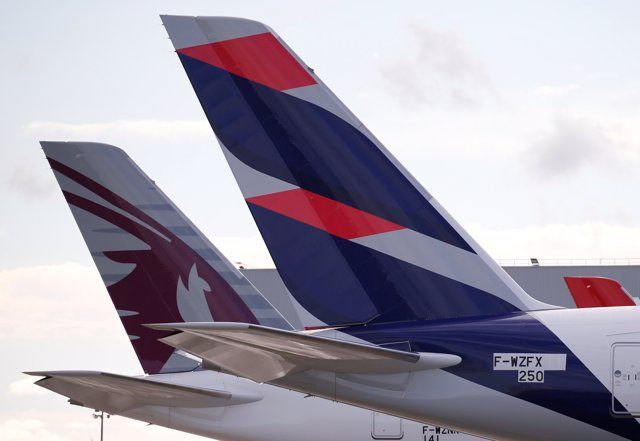 The logo of LATAM Airlines is pictured on an Airbus plane in Colomiers near Toul