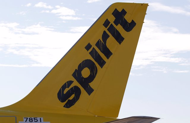 A logo of low cost carrier Spirit Airlines is pictured on an Airbus plane in Col