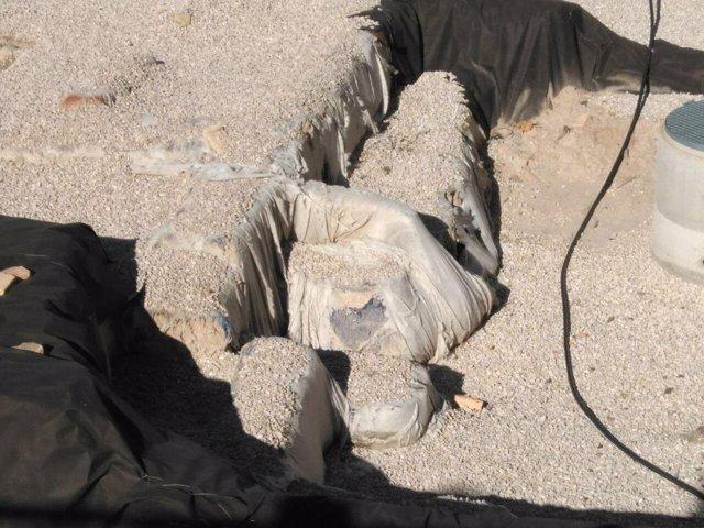 Imágenes de las roturas en el geotextil