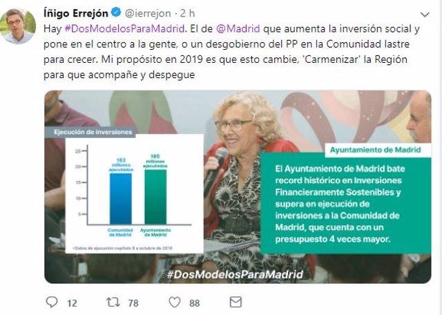 Tuit de Íñigo Errejón comparando los Presupuestos regionales y municipales 2019