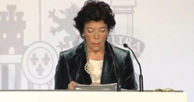 Rueda de prensa de Isabel Celaá tras el Consejo de Ministros en Barcelona