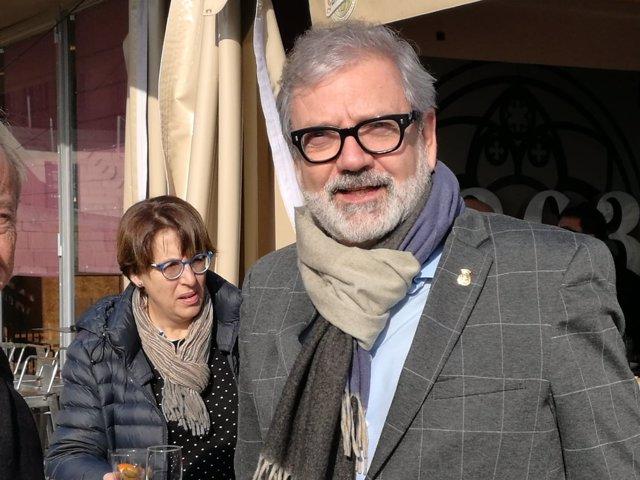 Fèlix Larrosa, en el encuentro navideño con los medios de comunicación de Lleida