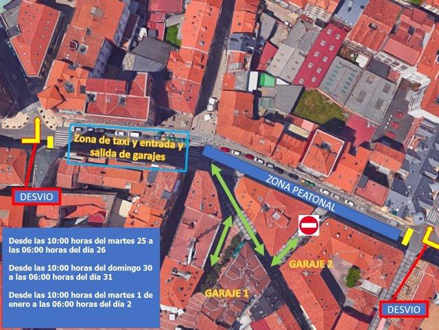 Zona que será peatonal de la calle Julián Ceballos