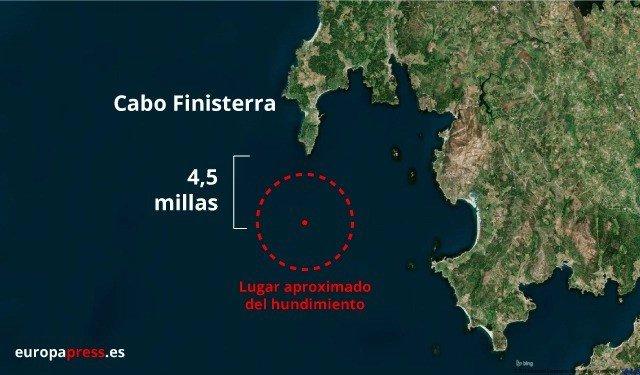 Zona del naufragio cerca de Fisterra
