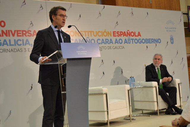 Feijóo y Santalices, en la clausura de la jornada 'Da Constitución ao Estatuto'