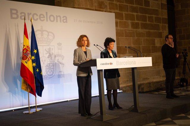 Rueda de prensa de I.Celaá y M.Batet tras el Consejo de Ministros en Barcelona