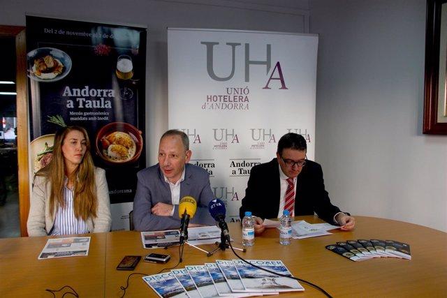 Sarah-Jane Giménez, Carles Ramos, Manel Ara (Unió Hotelera d'Andorra, UHA)