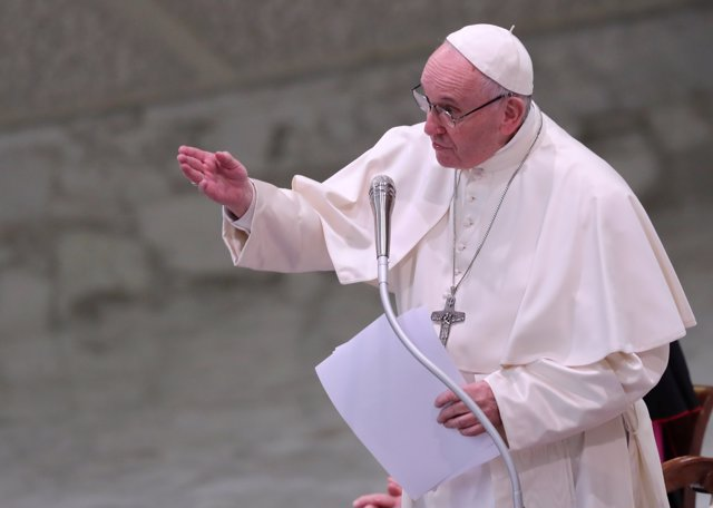 Pope Francis leads a special audience to deliver a Christmas message to Vatican