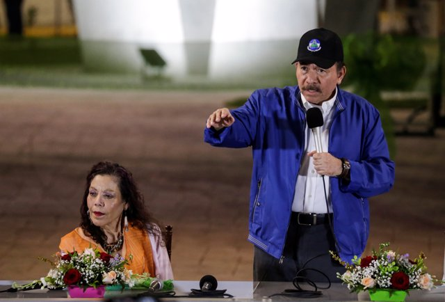 Nicaraguan President Daniel Ortega speaks during the opening ceremony of a highw