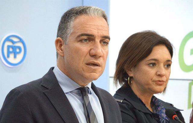 Elías Bendodo en la sede del PP