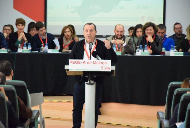 José Luis Ruiz Espejo, en el Comité Provincial del PSOE de Málaga
