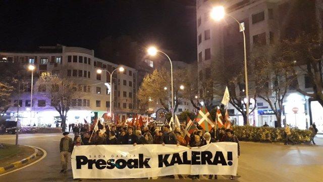 Manifestación en Pamplona en favor de los presos de ETA