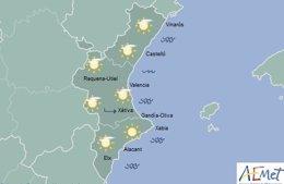 Mapa del tiempo durante este domingo