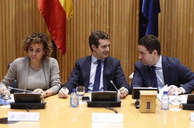Reunión del grupo del PP en el Congreso de los Diputados