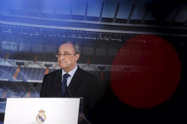Florentino Pérez, durante una comparecencia en el estadio Santiago Bernabéu