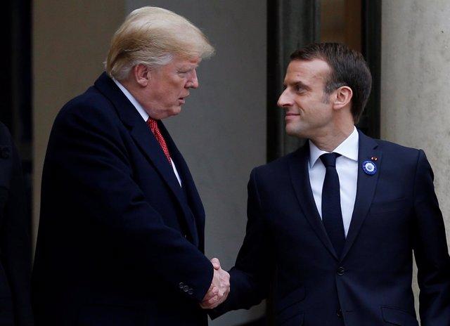 El presidente de EEUU, Donald Trump y Emmanuel Macron
