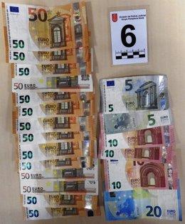 Dinero intervenido a un detenido por robo en la Comarca de Pamplona.