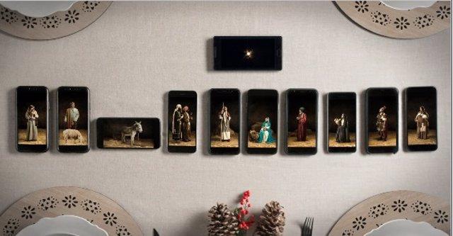 Belén viviente hecho con móviles a través de Xmas Mode
