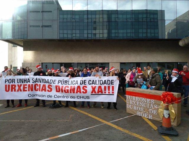 Protesta de trabajadores de urgencias del CHUS