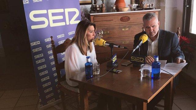 Susana Díaz, durante la entrevista con la Ser