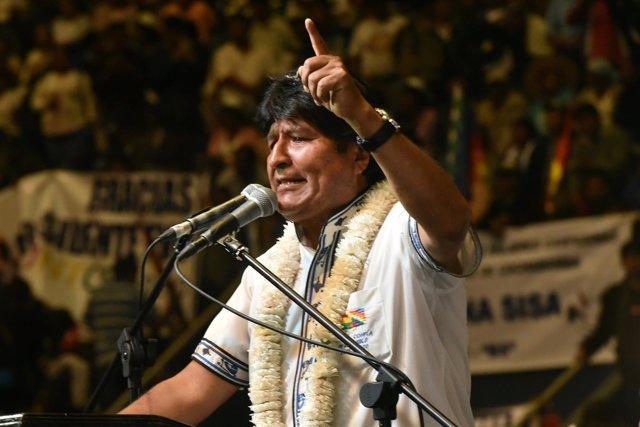 Bolivia's President Evo Morales speaks to his supporters during a rally in Quill