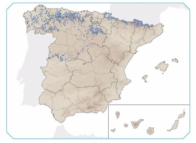 Distribución del desmán ibérico, vulnerable o en peligro de extinción en España