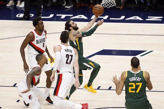 Ricky Rubio (Utah Jazz) contra Portland Trail Blazers