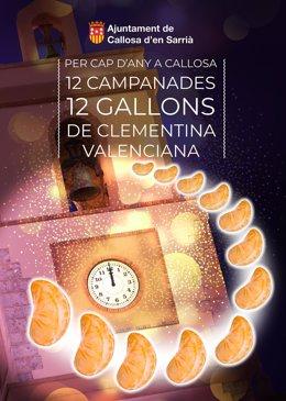 Cartel anunciador de la campaña para comer naranja en lugar de uva