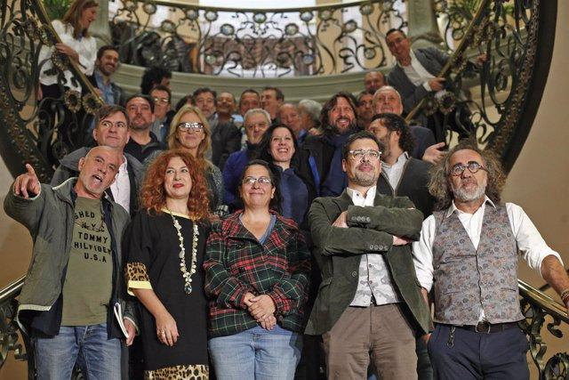 Presentación pública del nuevo presidente de la SGAE, el gaitero José Ángel Hevi