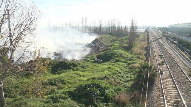 Estado del incendio en Sollana (Valencia)